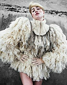 Fashion as Art - voluminous fashion with an exaggerated sculptural silhouette & feathery textures inspired by birds; 3D fashion // Anne Sofie Madsen