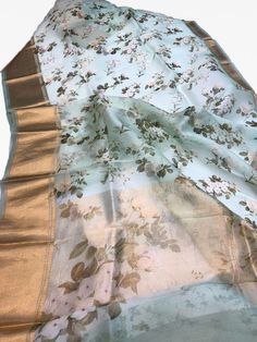 Pure Silk Organza Floral Sarees with Real Kanjipuram borders and draped on plain Organza blouse with Kanjipuram borders. For Booking and Inquiry inbox us or whatsapp on Jute Silk Saree, Organza Saree, Tussar Silk Saree, Silk Organza, Satin, Cotton Saree, Kanjipuram Saree, Saree Dress, Lehenga