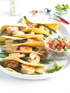 Switch up your taco routine and try grilled shrimp with fresh tomato salsa for dinner tonight. #shrimp #tacos