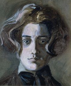 Self portrait with long hair, 1907 (age 16/17), by Egon Schiele (1890–1918). Oil on canvas, 14 x 11 1/4″ (35.5 x 28.5 cm)