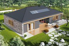Projekt domu AC EX 8 (wersja B) soft CE - DOM - gotowy koszt budowy House Outside Design, Simple House Design, Dream Home Design, Modern House Design, Bungalow Style House, Bungalow House Plans, Village House Design, Village Houses, Morden House