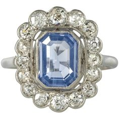 French Art Deco Sapphire Diamond Platinum Cluster Ring For Sale Antique Wedding Rings, Antique Engagement Rings, Antique Rings, Antique Jewelry, Vintage Jewelry, Antique Silver, Halo Engagement, Vintage Rings, Light Blue Sapphire