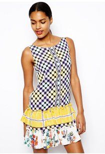 612ad9adb991 Love Moschino Multicolor Drop Waist Ruffle Skirt Short Casual Dress Size 4  (S) -