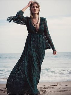 Free People Cool Candy Kimono at Free People Clothing Boutique - Emerald Lace Kimono Dress with Ribbon Closure, Bell sleeves and scalloped edging Fashion Art, Kimono Fashion, 70s Fashion, Gypsy Fashion, Fashion Styles, Fashion Clothes, Gypsy Style, Boho Gypsy, Bohemian Style