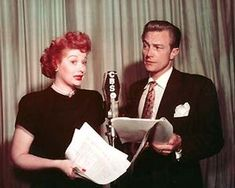 """My Favorite Husband is the name of an American radio program and network television series. The original radio show, co-starring Lucille Ball, was the initial basis for what evolved into the groundbreaking TV sitcom I Love Lucy. The series was based on the novel Mr. and Mrs. Cugat (1940), written by Isabel Scott Rorick, which had previously been adapted into the Paramount Pictures feature film Are Husbands Necessary? (1942), co-starring Ray Milland and Betty Field.My Favorite Husband began on CBS Radio with Lucille Ball and Richard Denning as Liz and George Cugat. After at least 20 early episodes, confusion with bandleader Xavier Cugat prompted a name change to Liz and George Cooper. The cheerful couple lived at 321 Bundy Drive in the fictitious city of Sheridan Falls and were billed as """"two people who live together and like it."""" The main sponsor was General Foods' Jell-O, and an average of three """"plugs"""" for Jell-O were made in each episode, including Lucille Ball's usual sign-on, """"Jell-O, everybody!"""""""