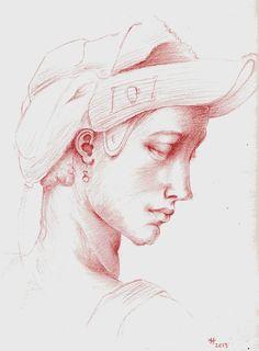 Aprendiendo de los grandes maestros. Estudio de cabeza ideal de Michelangelo.