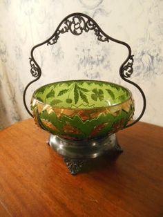 """Antique Bride's Basket: """"Delaware"""" - Emerald Green & Gilt - Silver Plate Holder"""