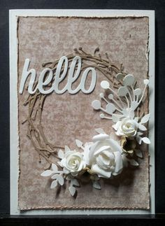 Card with wreath ans flowers - kortblogger Jette Jensen