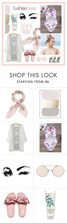 """""""Rose gold sunset goddess"""" by jhmess ❤ liked on Polyvore featuring Manipuri, Beach Riot, Sunday Somewhere and Puma"""
