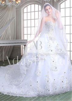 In Stock Luxury Tulle Sweetheart Neckline Ball Gown Wedding Dresses With Rhinestones