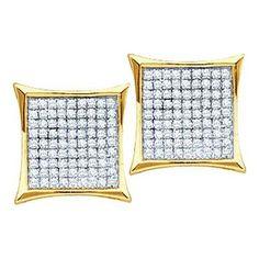 14k Yellow Gold 0.10Ctw Round Diamond Ladies Micro Pave Fashion Earrings