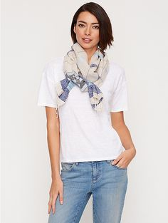 Scarf in Handloomed Cotton Jacquard Borders | EF