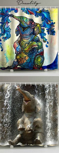 Super bath room shower curtains blue home decor 53 Ideas Coral Shower Curtains, Elephant Shower Curtains, Bird Shower Curtain, Bathroom Shower Curtains, Blue Home Decor, Curtains For Sale, Mural Art, Elephant Print, Elephant Stuff