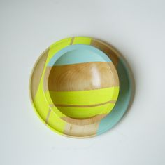 "Modern Neon Hardwood 7"" Bowl, Yellow & Seafoam.   Nicole Porter Design   via Etsy."
