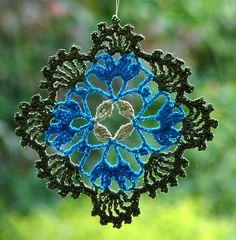 Crochet doily hanger sucatcher lace mandala by SparklingKnitwear