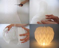 folded lamp Origami Cube, Origami Shapes, Origami And Kirigami, Modular Origami, Origami Lampshade, Paper Lampshade, Origami Pencil Holder, Origami Lights, Deco Luminaire