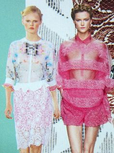 Valentino and Preen RTW S/S 2012, Hanne Gaby Odiele and Kasia Struss in Vogue