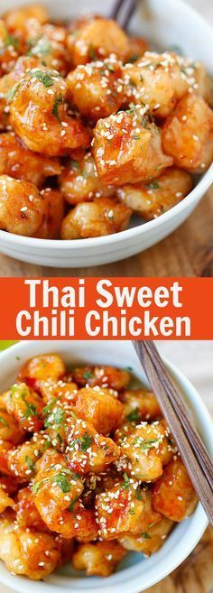 Thai Sweet Chili Chicken – amazing and best-ever chicken recipe with sticky, sweet and savory sweet chili sauce. SO good | rasamalaysia.com