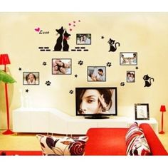 black love cats photo frame sticker decals bedroom window background home decor, pvc diy wall stickers Diy Wall Stickers, Wall Decals, Hipster Party, Pvc Windows, Bedroom Windows, Decorate Your Room, Look Cool, Glass Door, Photo Wall