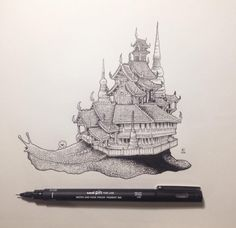 Most of us have found ourselves doodling at some time or another, but very few of us could fill a pocket sketchbook the way Philippines-based illustrator Kerby Rosanes has. His incredibly detailed illustrations give us a peek into his brilliant imagination. Each doodle looks amazing from afar, but the closer you get, the more the playful details are revealed. Read more at http://www.visualnews.com/2014/11/12/detailed-ink-pen-doodles-kerby-rosanes/#TWgeIbTaK7lu5PY4.99
