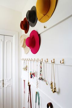 Elsie's DIY Closet Organization - A Beautiful Mess - D. home decor - Elsie's DIY Closet Organization - A Beautiful Mess DIY closet organization Wall Storage, Closet Storage, Bedroom Storage, Storage Ideas, Storage Solutions, Diy Storage, Storage Cubes, Storage For Hats, Cheap Storage