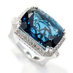 155-854 - Dallas Prince Sterling Silver 19.55ctw London Blue Topaz & White… London Blue Topaz, Dallas, Sapphire, Prince, Sterling Silver, Jewelry, Jewlery, Jewerly, Schmuck