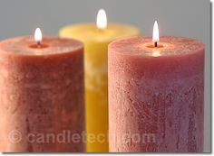 """Cold-Pour/Rustic Candles DIY. Pouring candles at cooler temperatures can produce some interesting surface """"blemishes."""" The rustic surface finish of these candles makes them a suitable compliment for many decors. It also does an excellent job at concealing nicks and scratches that may occur in handling."""