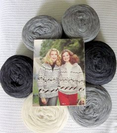 Cowichan Sweater Kit GEOMETRIC pattern Greys by raincoaststudio Available now for winter knitting projects.