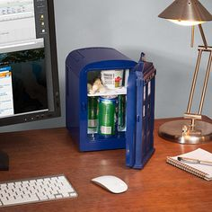 The Doctor Who TARDIS Mini Fridge features a flashing light and TARDIS sound effects when you open and close the door. Holds a six-pack of 12 oz cans.