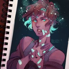 Little constellation crown! Feel a bit weird about this? What do you think? Playing with lighting and coloures a bit so her hair, skin, clothes are darker aside from the highlights. Btw All ive been interested in these days is space themed stuff ♡ i think you can tell bc i've been drawing Mikelle a lot lol. #digitalart #كلنا_رسامين