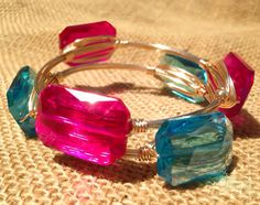 The Summer By The Pool Crystal Wire Wrapped Bangle