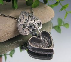 Heart Pendant opened by Lisa Barth,  Metal Clay