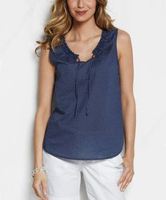 Another great find on #zulily! Aged Navy Dot Sleeveless Top - Women & Petite by Lands' End #zulilyfinds