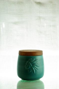 Soholm, Denmark, turquoise tobacco jar, with indian motive. on Etsy, $114.41
