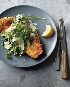 A vegetarian take on veal Milanese is both crisp and tender, with a flavor brightened by lemon and topped with baby Arugula. #arugula