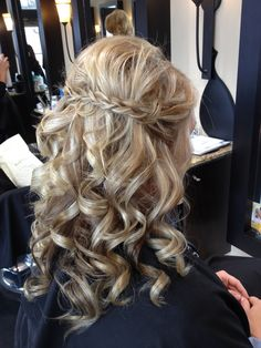 Cute! Or even bigger waves rather than tight curls. Love the braid across the back!
