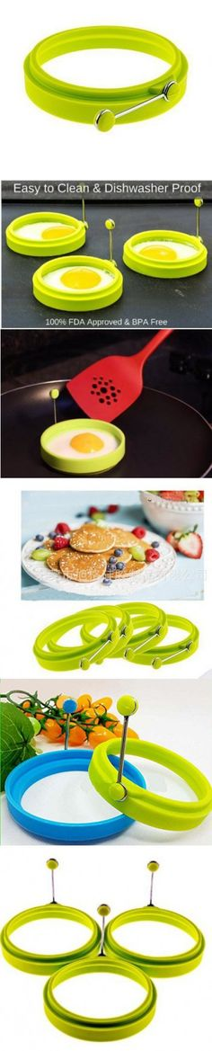 Premium Silicone Egg Cooker Ring / Pancake Rings 4-Pack Silicone Egg Ring - Egg Mold - Silicone Pancake (green, 3)