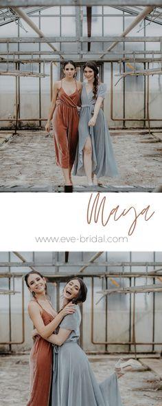 Bridesmaid dresses, Brautjungfern Outfits aus Samt, Jumpsuit in antique pink, dress in dusty blue, velvet dresses  /Fotos: www.annaenya.com