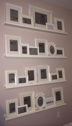 I could change and reorganize my picture frames without poking a bunch of holes in my walls Love this! I could change and reorganize my picture frames without poking a bunch of holes in my walls Ikea Picture Ledge, Picture Shelves, Ikea Pictures, Hanging Pictures, Pictures In Hallway, Art Mural Palette, Images Murales, Diy Pallet Wall, Diy Wall