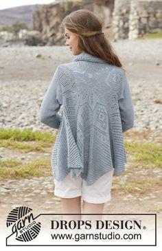 Seaside Dreamer / DROPS 191-6 - Sweter na drutach ze ściegiem ażurowym, przerabiany na okrągło, z włóczki DROPS BabyAlpaca Silk. Od S do XXXL