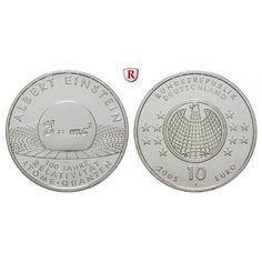 Bundesrepublik Deutschland, 10 Euro 2005, Albert Einstein, J, PP, J. 514: 10 Euro 2005 J. Albert Einstein. J. 514; Polierte Platte,… #coins