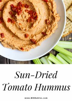 Creamy sun-dried tomato hummus is the perfect healthy snack that you can whip up in 5 minutes or less! Serve it with veggies, crackers, or use it as a spread for wraps and sandwiches. Homemade Velveeta, Recipes With Velveeta Cheese, Homemade Hummus, Sun Dried Tomato Hummus, Tomato Pesto, Dried Tomatoes, Easy Cloud Bread Recipe, Pesto Hummus, Healthy Dips