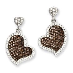 .925 Sterling Silver Brown Clear CZ Heart Dangle Earrings Silver Jewelry Available Exclusively at Gemologica.com