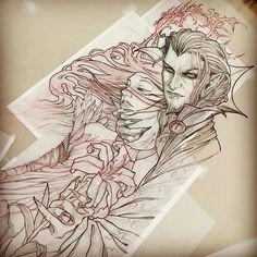 Dracula and Shinoa.the start of a very large project. Tattoo Sketches, Tattoo Drawings, Art Drawings, Tattoo Illustrations, Graffiti Tattoo, Dracula Tattoo, Backpiece Tattoo, Dibujos Tattoo, Crow Skull