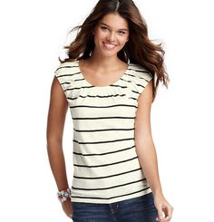 Loft - LOFT view all tees - Striped Peasant Tee in white size small