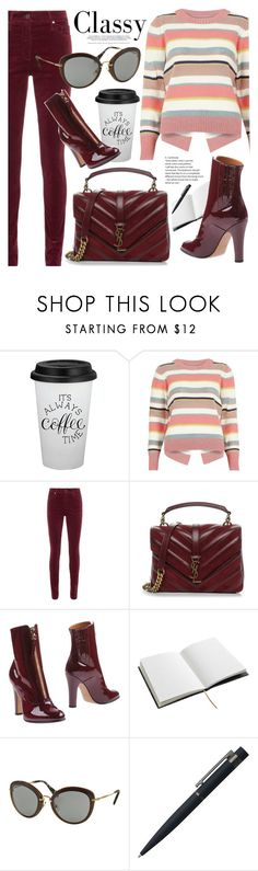 """""""Classy"""" by smartbuyglasses-uk ❤ liked on Polyvore featuring River Island, AG Adriano Goldschmied, Yves Saint Laurent, Valentino, House of Hackney, Miu Miu, John Lewis and red"""