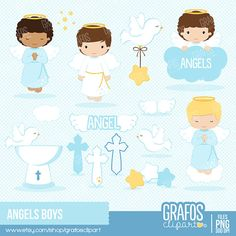 ANGELS BOYS  Digital Clipart Set Angels Clipart by GRAFOSclipart