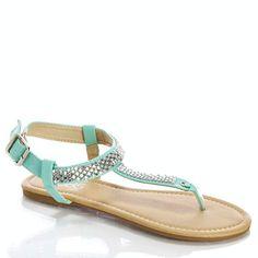 Rhinestone T-Strap Sandals (Size 6)