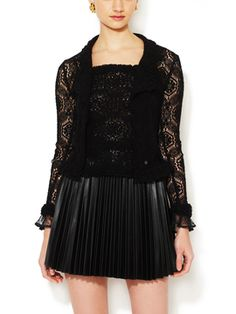 Black Camellia Lace Ruffled Sweater Set from Perfectly Pretty on Gilt