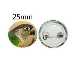 Yellow-sided Green Cheek Conure 25mm Button Pin Badge (PG-01051) Amazon Parrot, Conure, Pin Badges, Buttons, Blue, Yellow, Green, Gifts, Presents